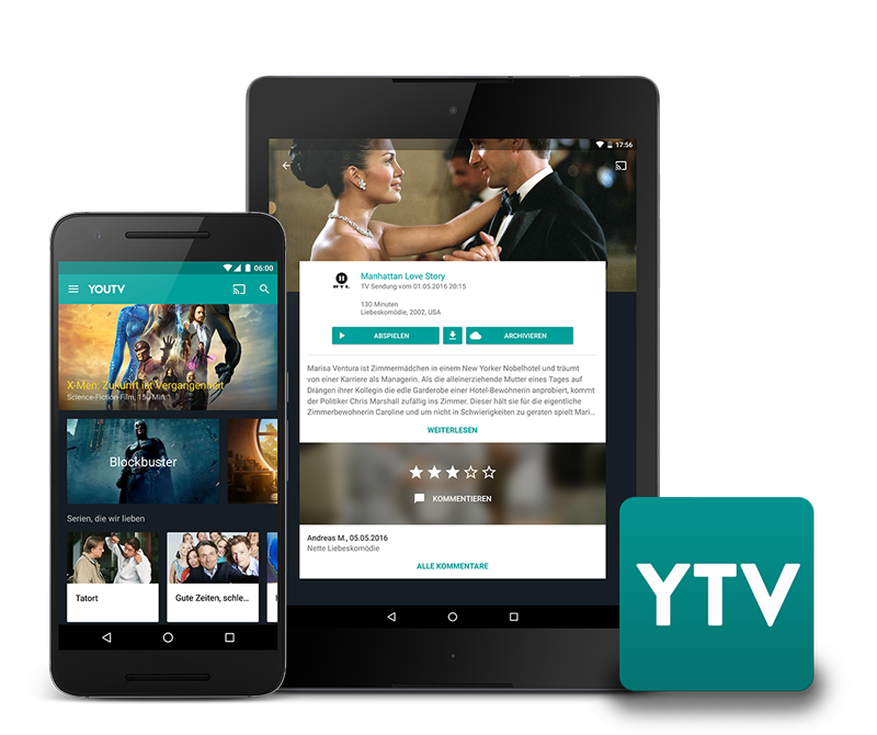 YouTV Android Smartphone und Tablet TV Mediathek